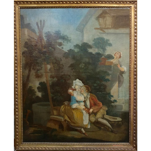 Peeping on French Lovers -18th Century Oil Painting