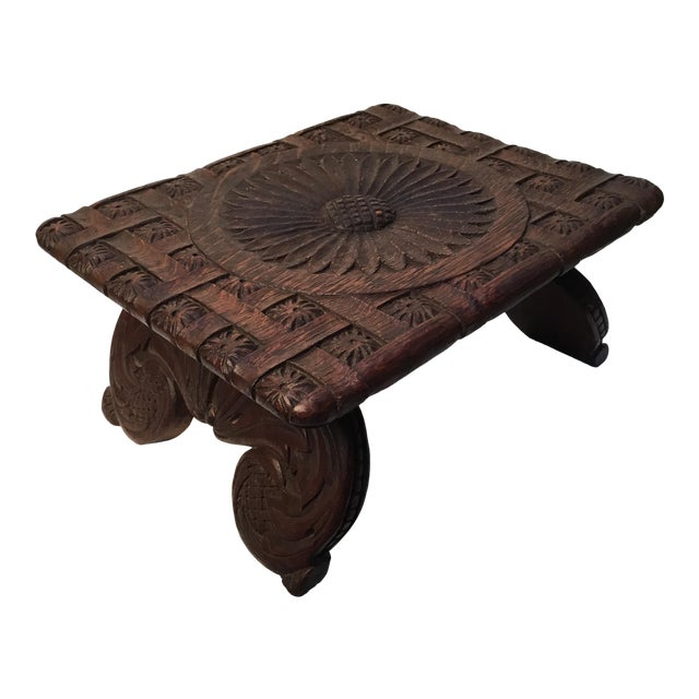 1900s Antique English Hand Carved Footstool For Sale