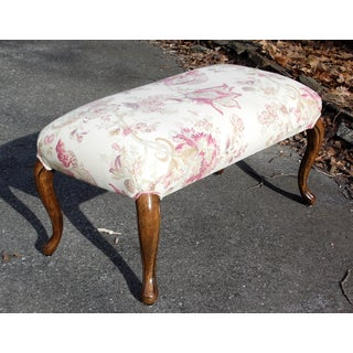 Vintage Upholstered Queen Anne Vanity Bench Stool Window Seat Preview