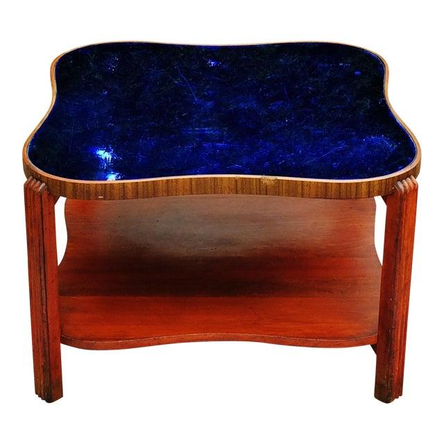 Art Deco Cobalt Blue Glass Mirror Coffee Table