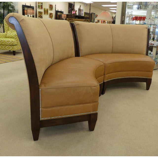2010s Stanford Furniture Leather & Suede Garrett Curved Dining Bench or Banquette- a Pair For Sale - Image 5 of 13