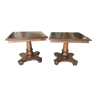 1950s Traditional Ethan Allen Pedestal Pine Tavern End Tables - a Pair For Sale