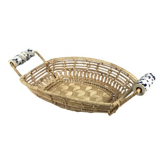Antique Basket With Delft Ceramic Handles For Sale