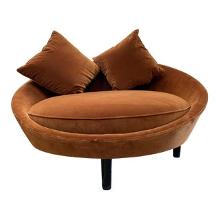 Late 20th Century Cinnamon Brown Velvet Round Sofa For Sale