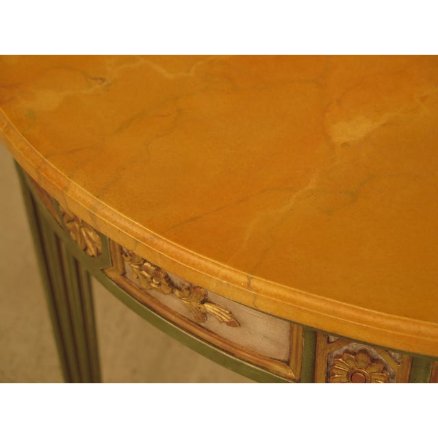 French Louis XVI Style Paint Decorated Console Table For Sale - Image 4 of 11