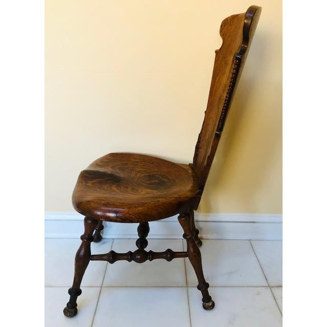 Early 20th Century Antique Hand Carved Wood Hall Chair For Sale - Image 4 of 13