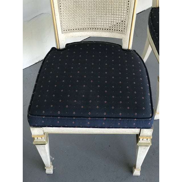 1970s 1970s Vintage Drexel Siena Furniture Italian Neoclassical Cane Back Dining Chairs- Set of 4 For Sale - Image 5 of 13