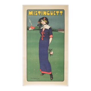 "Early 20th C. French Stone Lithograph ""Mistinguett"" C. 1911 For Sale"