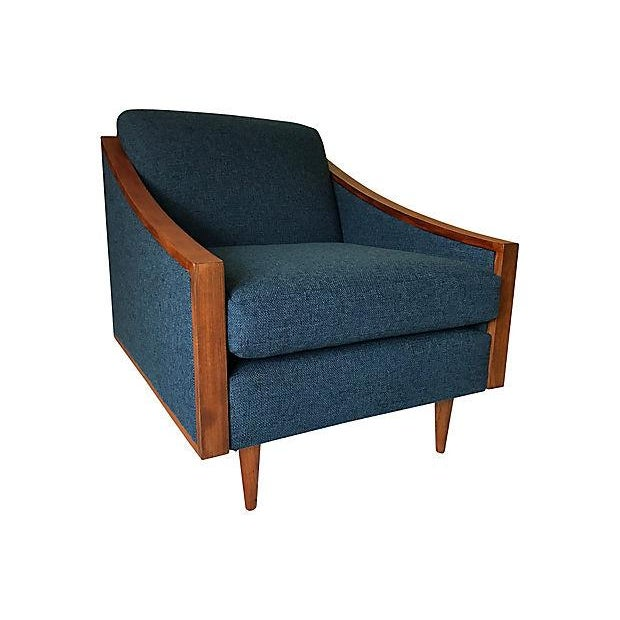 Blue Mid-Century Lounge Chair - Image 1 of 8