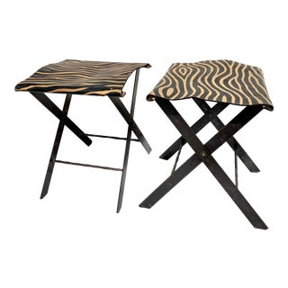 Folding Steel Campaign Stools with Custom Leather Zebra Print Tops - a Pair For Sale