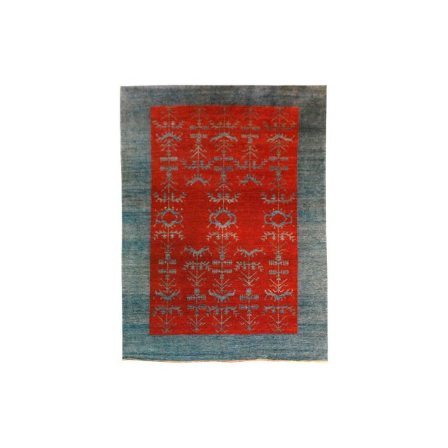 Vintage Gaba Blue and Red Rug 6x9 For Sale In Los Angeles - Image 6 of 6