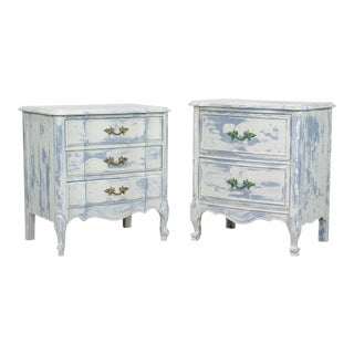 French Provincial Nightstands, Cream Nightstands, Mid Century Nightstands - a Pair For Sale