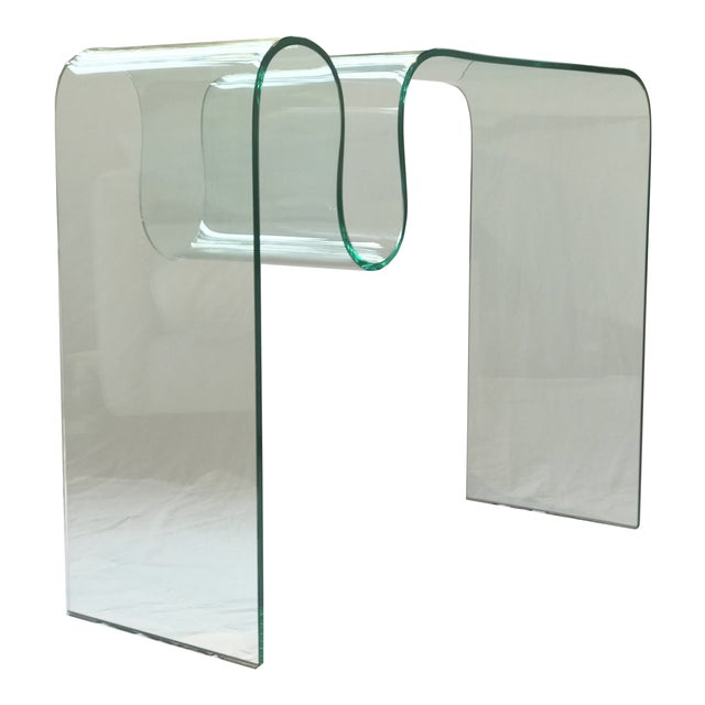 Solid Bent Glass Console Table For Sale