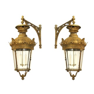 Pair of French Victorian Bronze Four Sided Lanterns For Sale