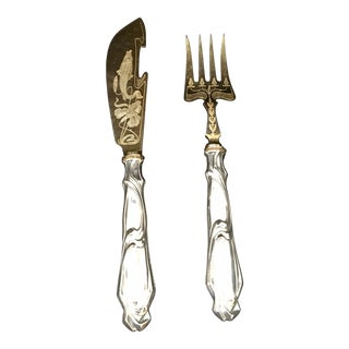 Art Nouveau Fish Serving Set - A Pair For Sale