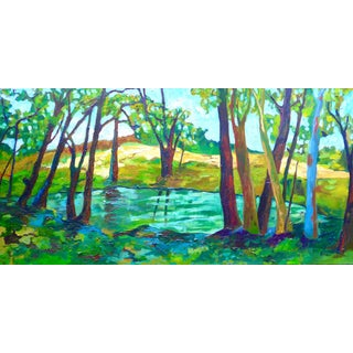 """""""Pond in France"""" Contemporary Landscape Oil Painting by Martha Holden For Sale"""