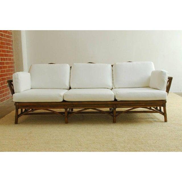 Mid 20th Century McGuire Organic Modern Bamboo Rattan Sofa For Sale - Image 5 of 13