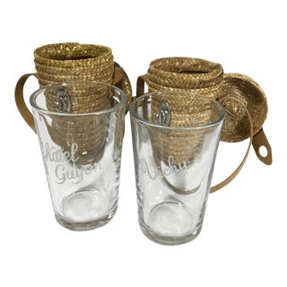 Vintage Lourdes French Personal Water Glasses & Carrying Cases - a Pair