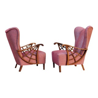 1940s Vintage Swedish Modernist Winged Back Spider Web Armchairs- a Pair For Sale
