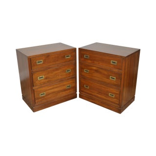 Ethan Allen Campaign Style Pair Solid Cherry 3 Drawer Chests Nightstands For Sale