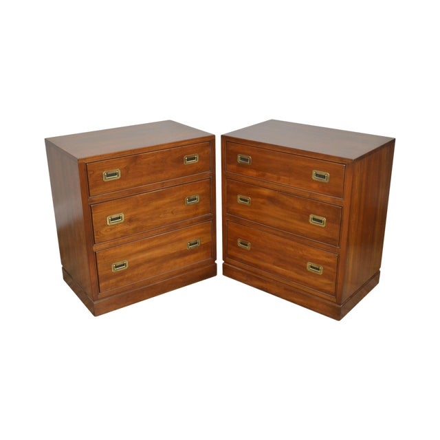 best loved 99ab3 75e98 Ethan Allen Campaign Style Pair Solid Cherry 3 Drawer Chests Nightstands