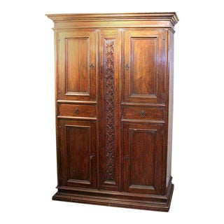 Early 19th Century Italian Walnut Four-door Cabinet For Sale