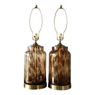 Mid-Century Modern Amber Glass and Brass Table Lamps by Tyndale - a Pair For Sale