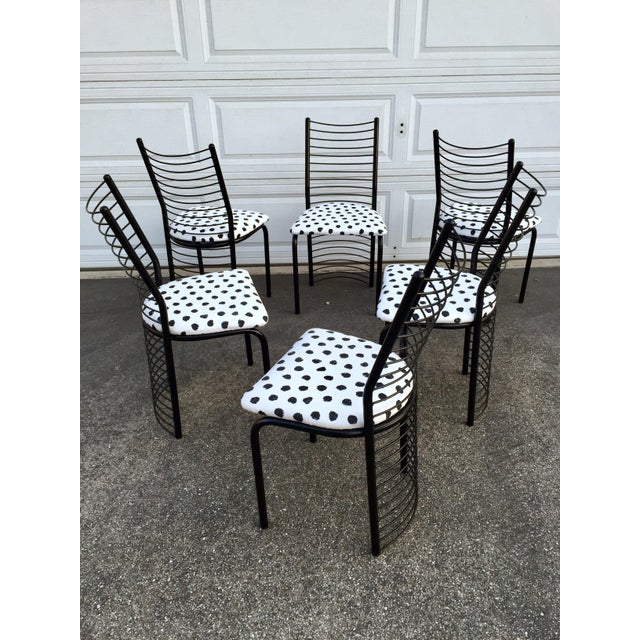 Contemporary Modern Regency Style Wire Barrel Chairs - Set of 6 For Sale - Image 3 of 7