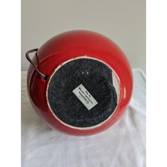 Mid-Century Modern Vintage Red Spherical Ceramic Table Lamp For Sale - Image 6 of 7