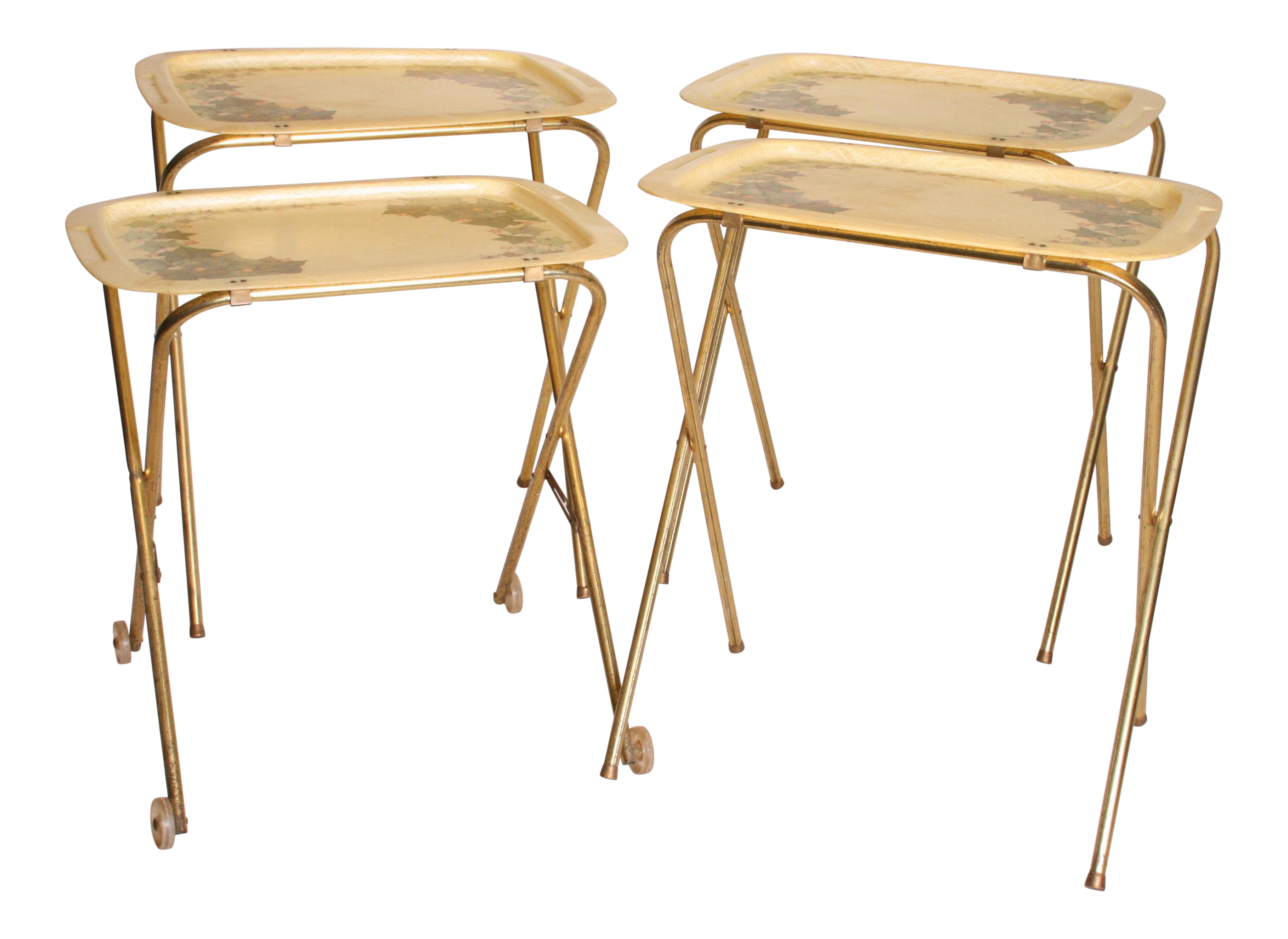 Mid Century Modern Folding TV Tray Tables   Set Of 4