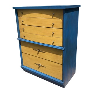 1960s Mid Century Modern Bassett Highboy Dresser For Sale