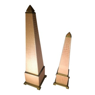 Late 20th Century Brass and Leather Obelisks - a Pair For Sale