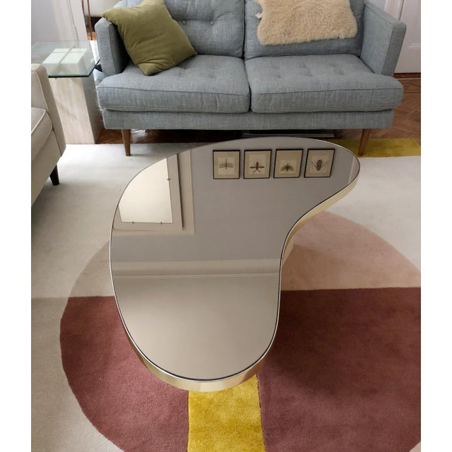 Hollywood Regency Mid-Century Modern Mirrored Kidney Coffee Table For Sale - Image 3 of 12