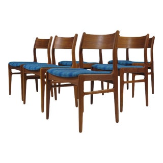 Funder-Schmidt and Madsen Teak Dining Chairs in Blue Wool - Set of 6 For Sale