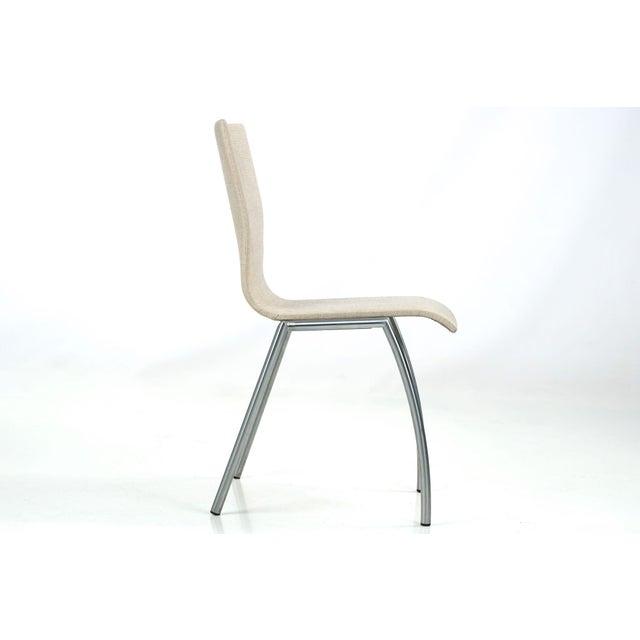 Danish Modern Brushed Steel Side Chair by Kvist - Image 4 of 11