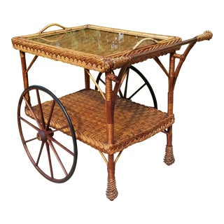 Antique Wicker Tea Trolley Bar Cart For Sale