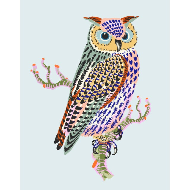Contemporary Owl Giclée Print in Blue For Sale
