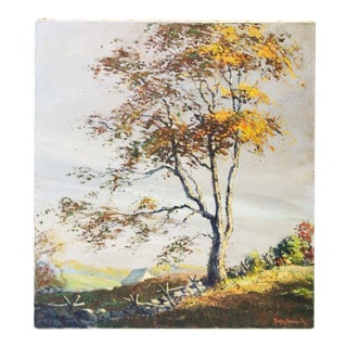 """Caddell Fall Tree """"Golden Shaft"""" Oil Painting For Sale"""