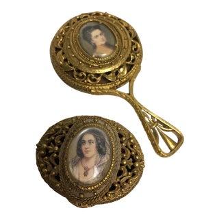 Florenza Portrait Hand Mirror & Trinket Box For Sale