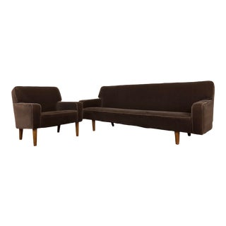 Hans Wegner for a.p. Stolen 1959 Vintage Matching Sofa and Chair Set With Mohair Upholstery For Sale
