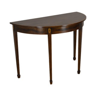 Smith & Watson Federal Style Mahogany Inlaid Demilune Console Table (A) For Sale