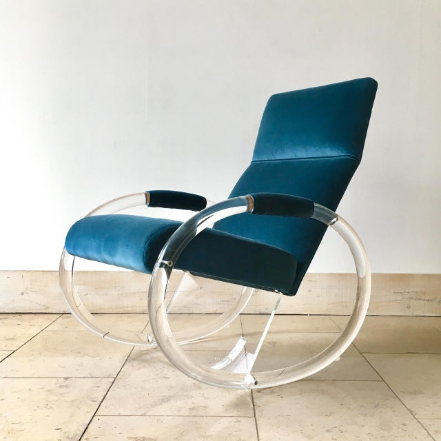 Turquoise Charles Hollis Jones Designed Lucite Rocking Chair 1970s For Sale - Image 8 of 8
