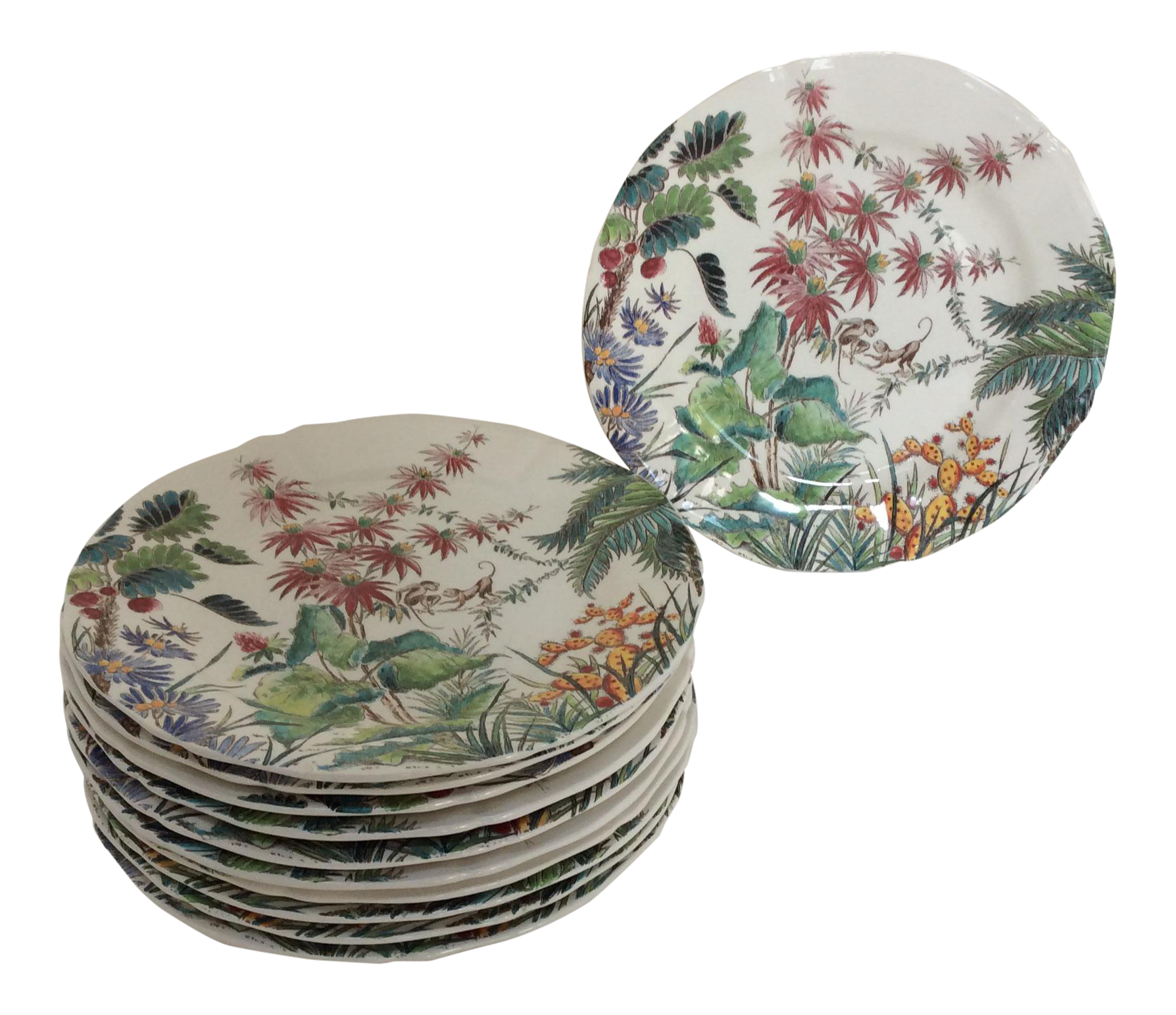 French Gien Tamarin Pattern Plates - Set of 11  sc 1 st  Chairish & French Gien Tamarin Pattern Plates - Set of 11   Chairish