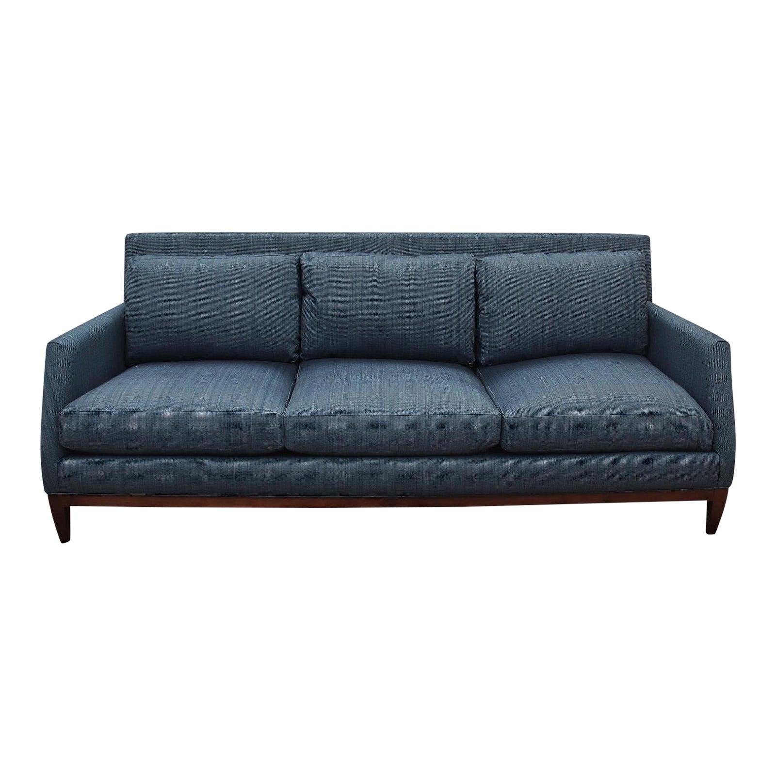 Mid Century Modern Style Robert Allen Navy Sofa