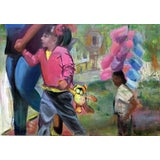 Image of 21st Century Colorful Oil With Kids Portrait Painting For Sale