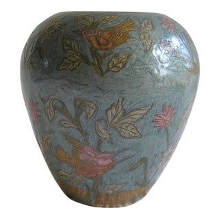 Blue Floral & Birds Enamel Indian Vase For Sale
