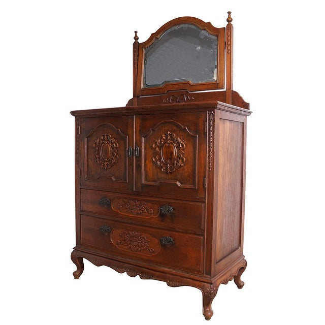 This antique raise carved dresser was made by solid Teak wood.It was very popular in Shanghai during 1920 to 1940's. There...