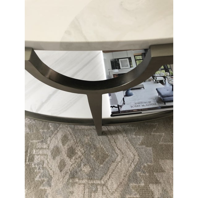 Contemporary Oval Faux Marble and Steel Two Tier Coffee Table For Sale - Image 10 of 11