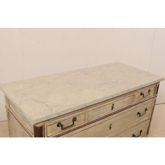 Wood Mid 19th Century French Carved Wood Commode With Limestone Top For Sale - Image 7 of 12
