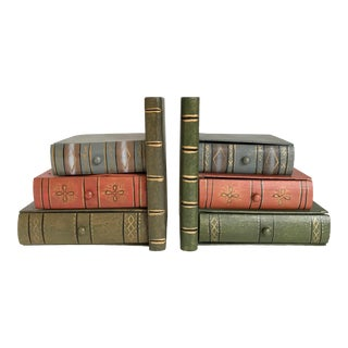 Mid 20th Century Vintage Figurative Wooden Faux Book Drawer Bookends-a Pair For Sale